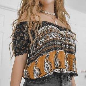 Forever 21 Off The Shoulder Printed Top